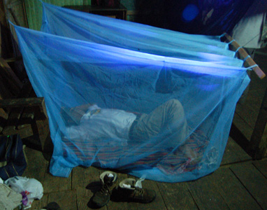 Backpacker and reearcher Angel Raygada sleeping in mosquito net enclosure. Photo by Campbell Plowden/Center for Amazon Community Ecology