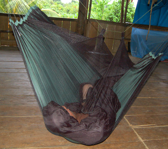 Backpacker videographer Greg Harriott sleeping in jungle hammock. Photo by Campbell Plowden/Center for Amazon Community Ecology