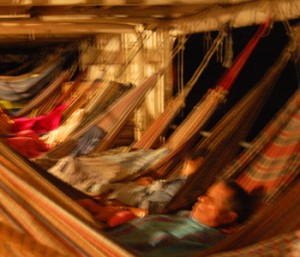 Hammocks on lancha Sofy at night. Photo by Campbell Plowden/Center for Amazon Community Ecology